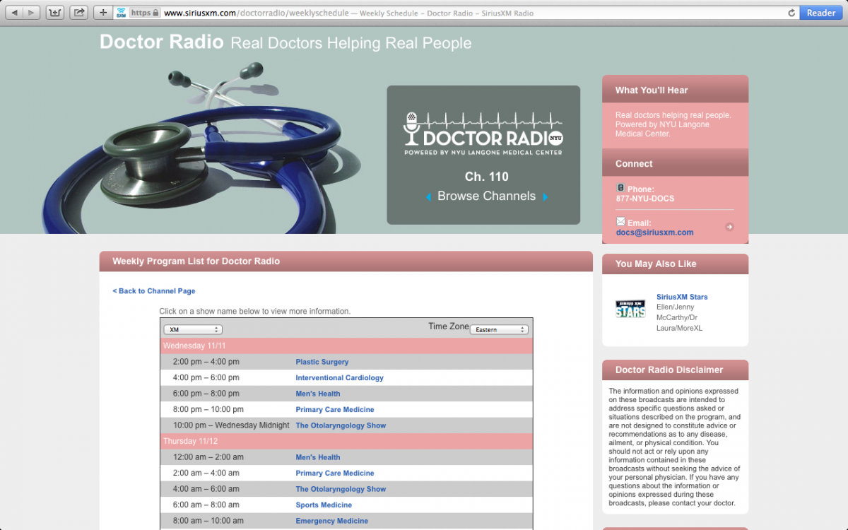 NYU Langone Medical Center's Doctor Radio has a weekly lineup of doctors to answer patient questions.