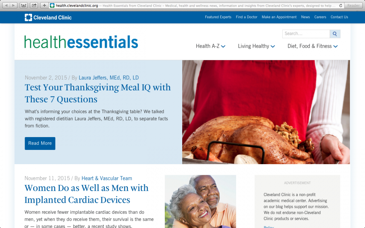 The Cleveland Clinic Health Essentials blog provides advice for healthy living.